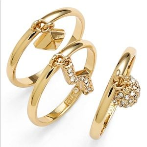 NWT Rebecca Minkoff Set of 3 Gold Rings size 7